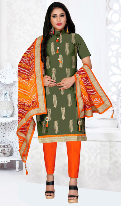 Green Color Embroidered Cotton Churidar Kameez