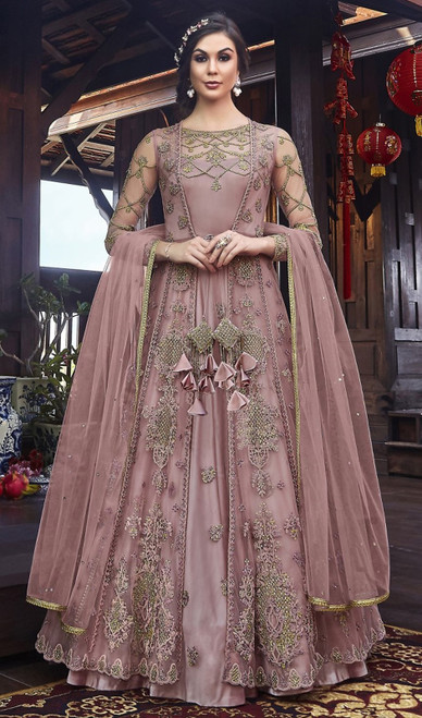 Net Embroidered Resham Pink Color Anarkali Dress