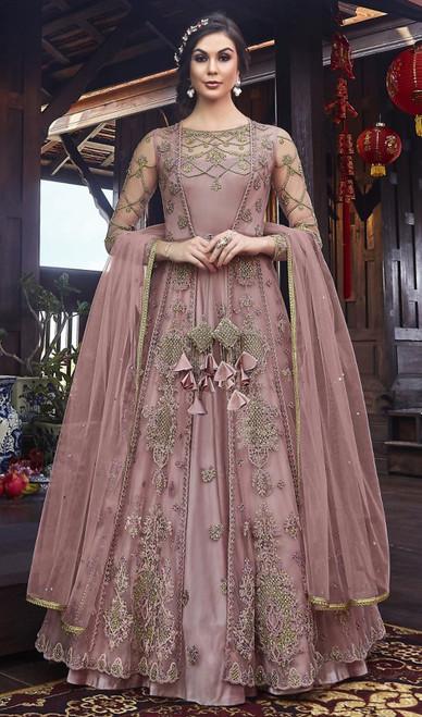 Net Embroidered Resham Pink Color Anarkali Dress