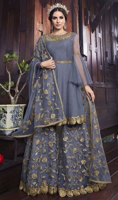 Gray Color Net Embroidered Palazzo Suit