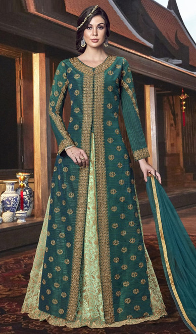 Embroidered Silk Teel Green Color Anarkali Suit