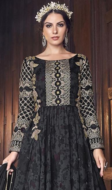 Black Color Shaded Silk Anarkali Suit