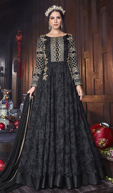 Black Color Shaded Silk Anarkali Suit