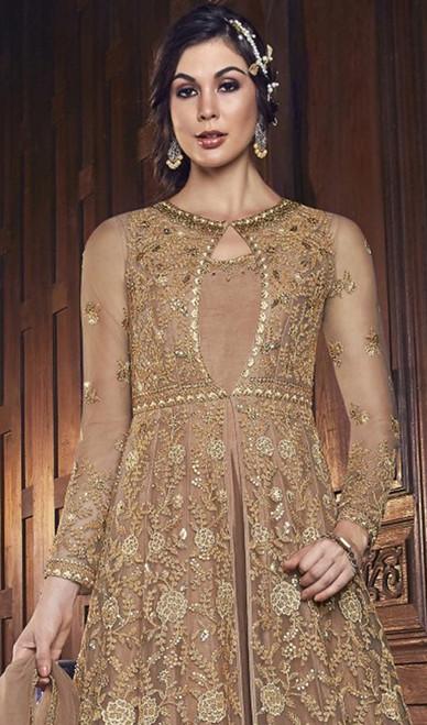 Beige Color Embroidered Net long Dress
