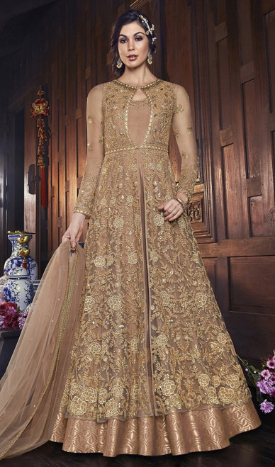 Beige Color Embroidered Net long Dress