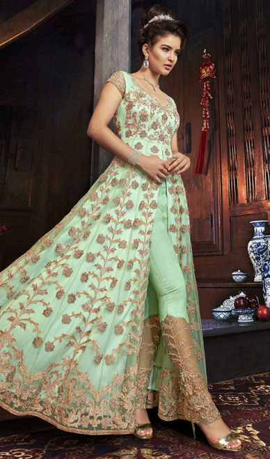 Green Color Net Embroidered Designer Suit