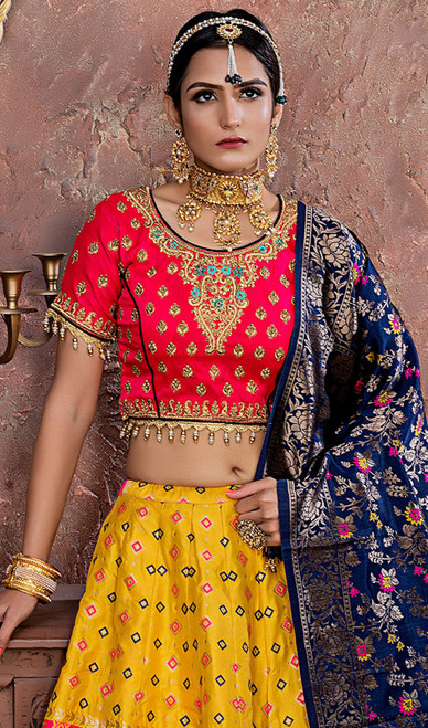 Yellow Color Shaded Banarasi Silk Lehenga Choli