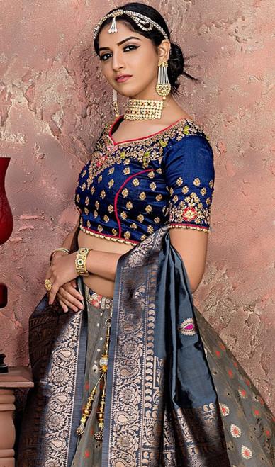 Gray Color Shaded Banarasi Silk Choli Skirt
