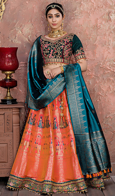 Orange Color Shaded Banarasi Silk Lahenga Choli