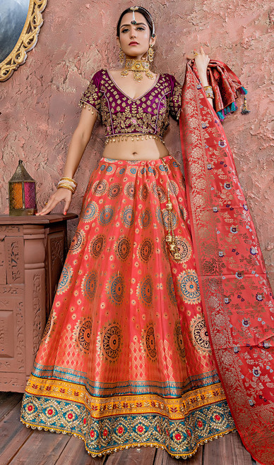 Cholie Skirt in Punch Pink Color Shaded Banarasi Silk