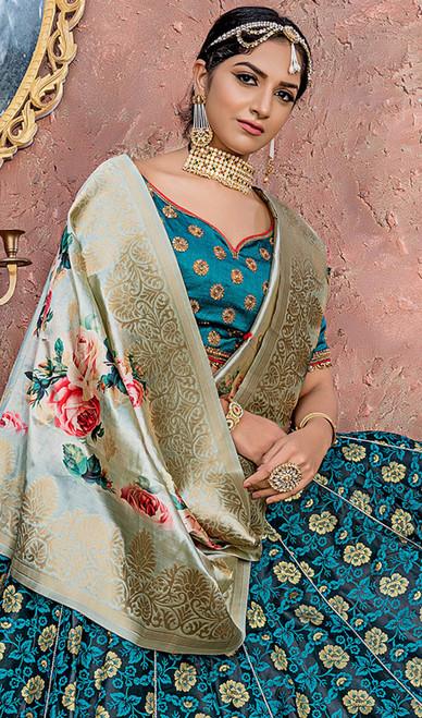 Pine Green Color Shaded Banarasi Silk Lehenga Cholie