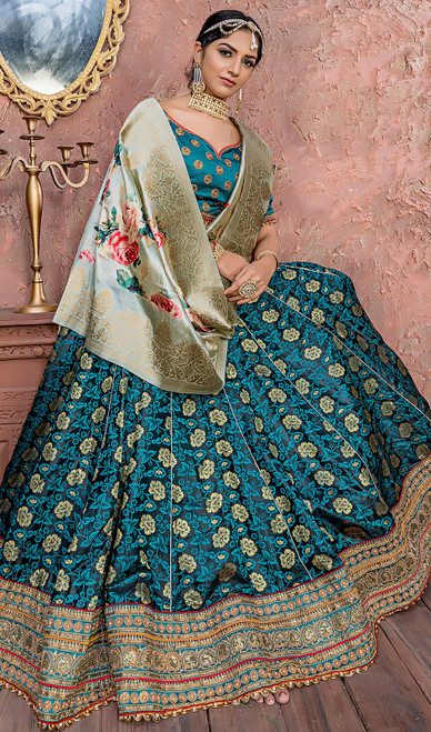 Pine Green Color Shaded Banarasi Silk Lehenga Cholie