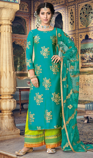 Blue Color Chanderi Embroidered Palazzo Suit