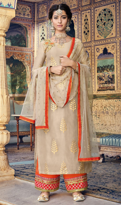 Palazzo Suit in Beige Color Shaded Chanderi