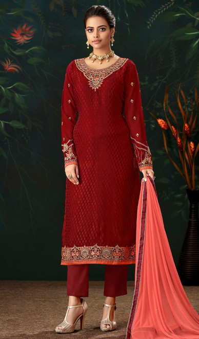 Maroon Color Viscose Brasso Embroidered Pant Style Suit