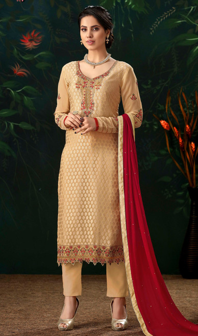 Cream Color Viscose Brasso Embroidered Pant Style Suit