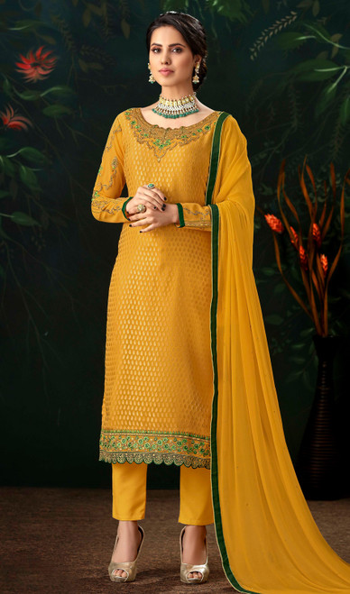 Yellow Color Embroidered Viscose Brasso Pant Style Suit