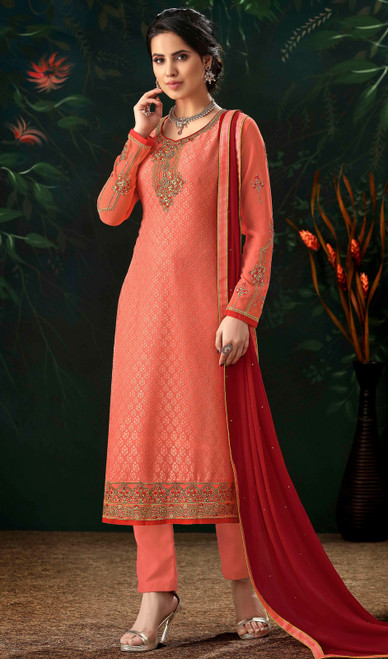 Coral Color Shaded Viscose Brasso Pant Style Suit