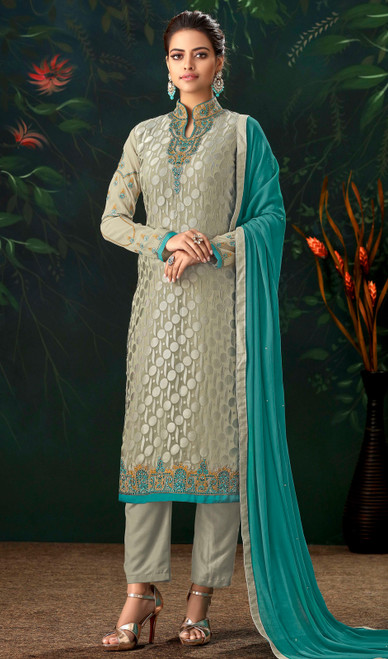 Gray Color Viscose Brasso Embroidered Pant Style Suit