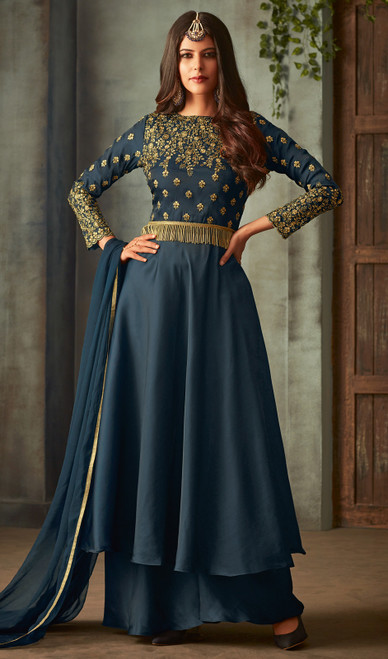 Silk  Navy Blue Color Shaded  Palazzo Suit