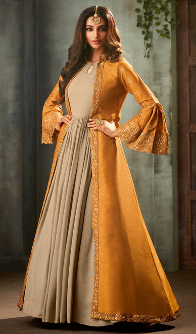 Beige and Mustard Color Silk Georgette Suit