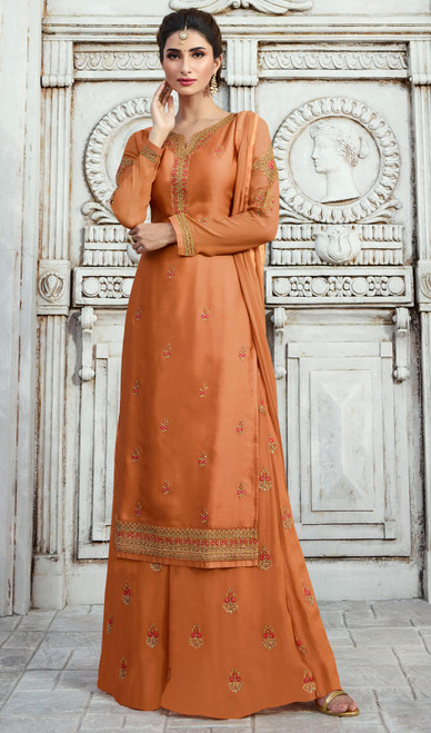Palazzo Suit in Orange Color Shaded Satin Georgette