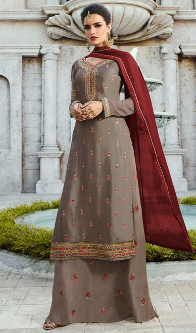 Suit, Satin Georgette Fabric in Gray Color