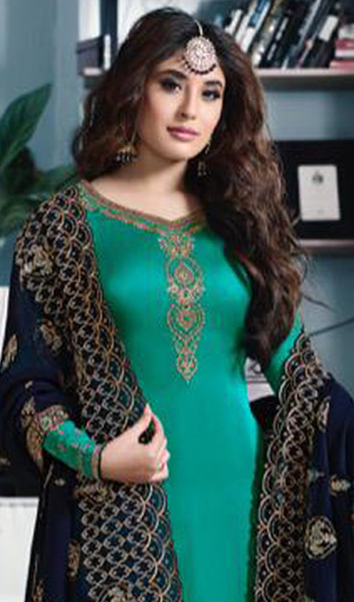 Green Color Shaded Satin Georgette Churidar Suit