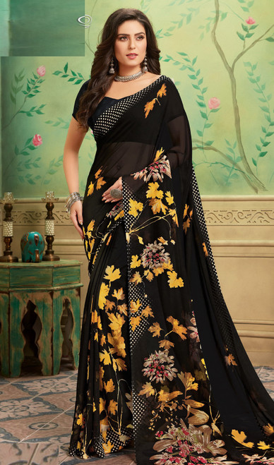 Black Color Shaded Georgette  Printed Sari
