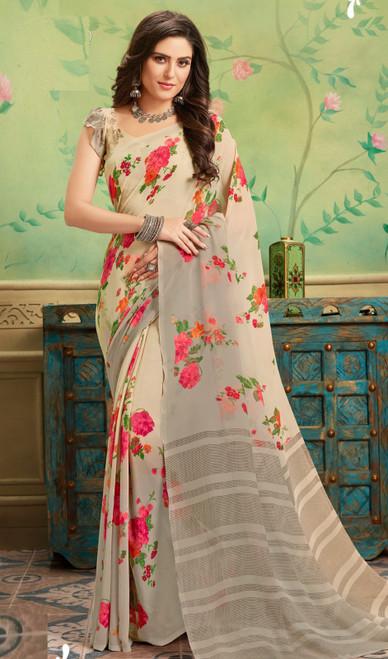 Beige Color Shaded Georgette Printed Sari