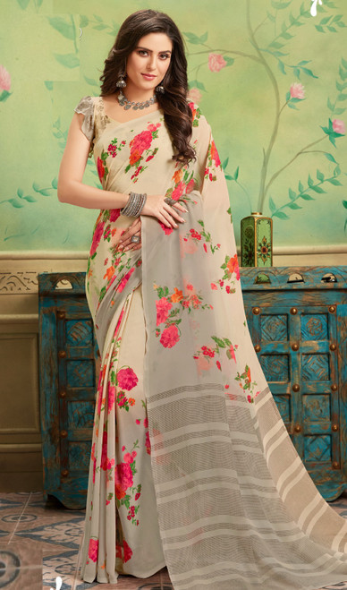 Beige Color Shaded Georgette Printed Sari