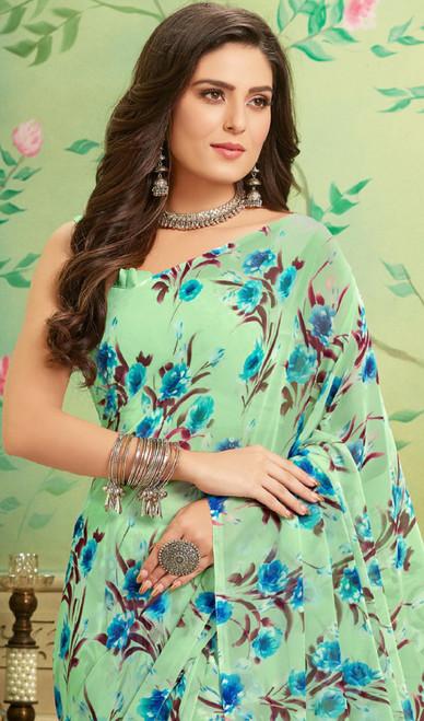 Sea Green Color Shaded Georgette Printed Sari