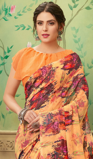 Mustard Color Shaded Georgette Printed Sari
