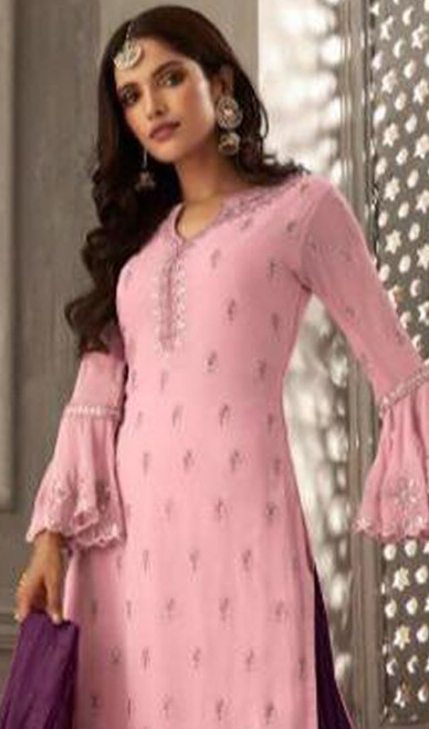 Embroidered Pink Color Georgette Palazzo Suit