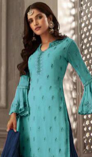 Sky Blue Color Shaded Georgette Suit