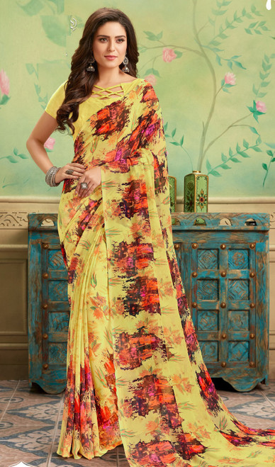 Yellow Color Shaded Georgette Printed Sari
