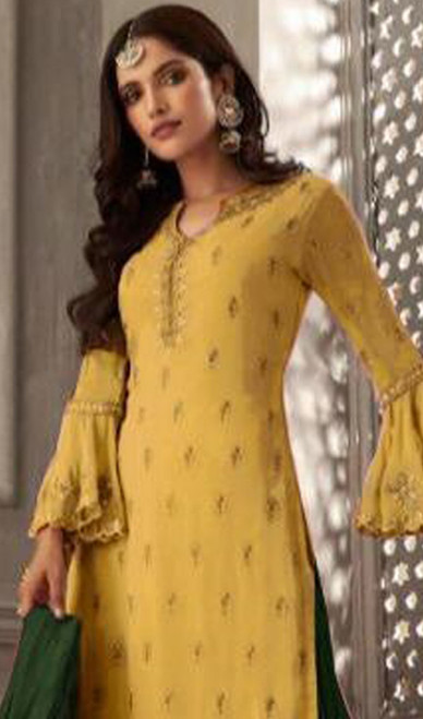 Yellow Color Embroidered Georgette Palazzo Suit