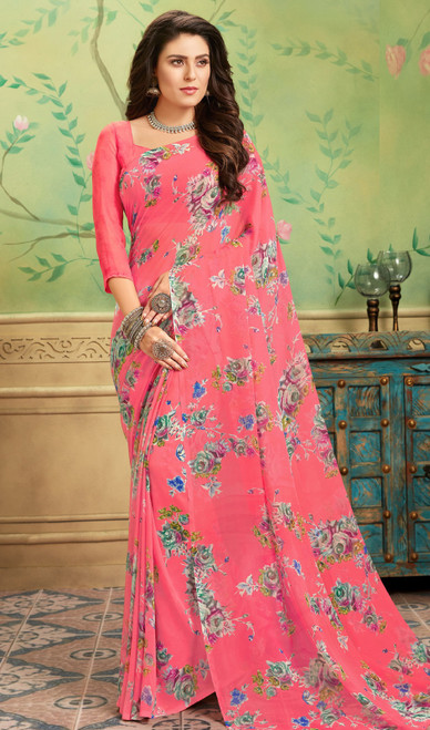 Printed Sari Pink Color Shaded Georgette