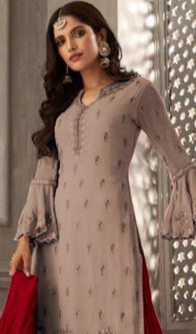 Light Brown Color Shaded Georgette Palazzo Dress