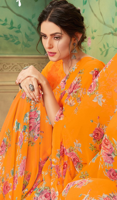 Orange Color Shaded Georgette Printed Sari