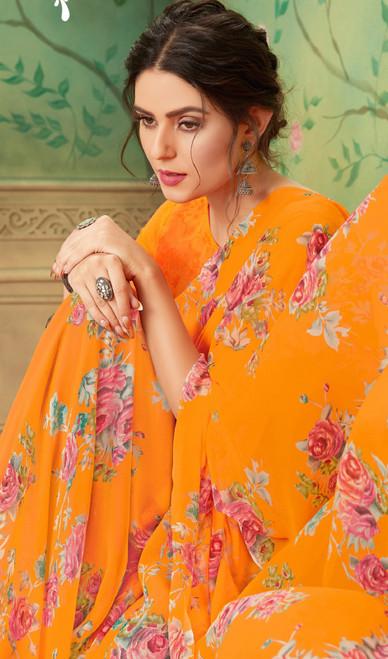Orange Color Shaded Georgette Printed Sari