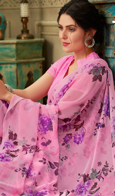 Printed Sari in Pink Color Shaded Georgette