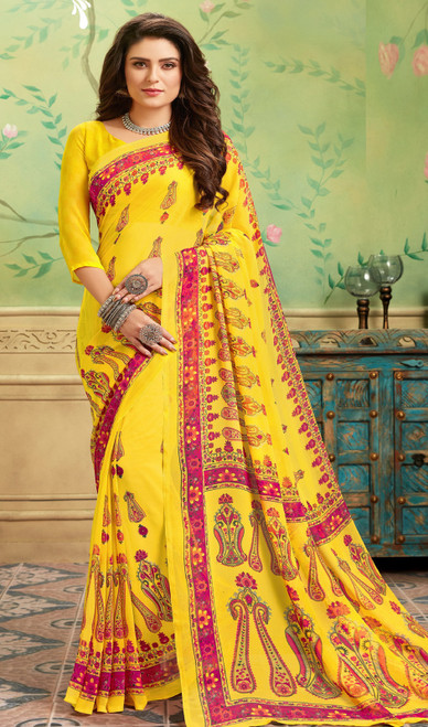 Printed Sari in Yellow Color Shaded Georgette