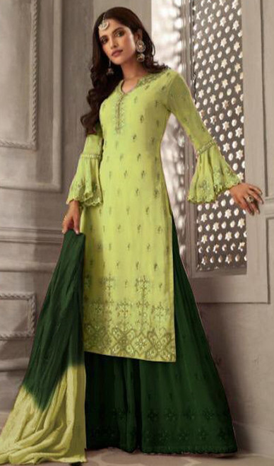 Green Color Embroidered Georgette Palazzo Suit