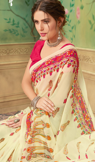 Printed Sari, Georgette Fabric in Cream  Color Shaded