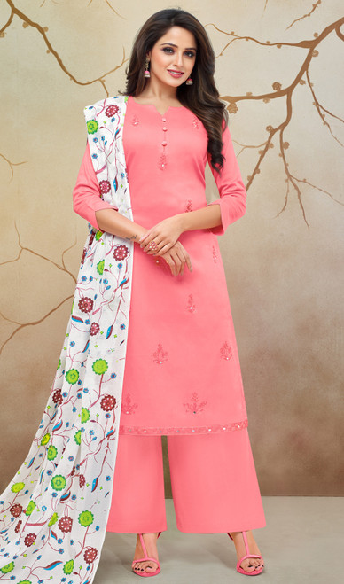 Pink Color Embroidered Silk Cotton Palazzo Suit