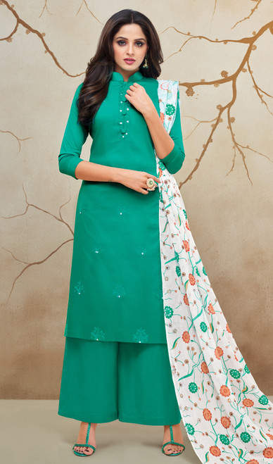 Rama Green Color Shaded Silk Cotton Palazzo Dress