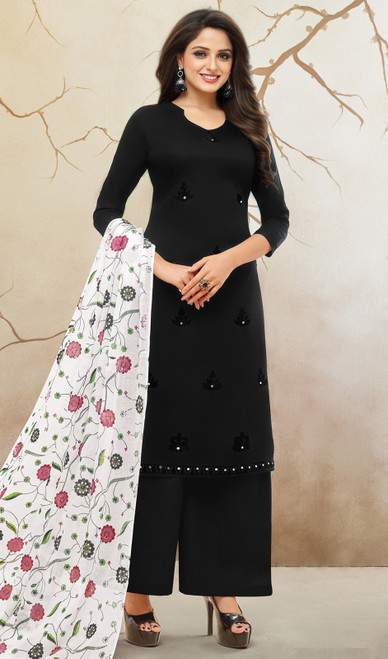 Black Color Shaded Silk Cotton Palazzo Suit