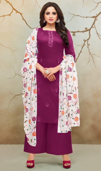 Palazzo Suit, Silk Cotton Fabric in Magenta Color Shaded