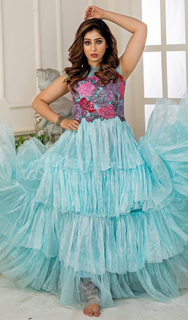 Turquoise Color Shaded Net Gown